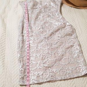 bebe Dresses - BeBe Silver and Nude lace midi dress size Medium